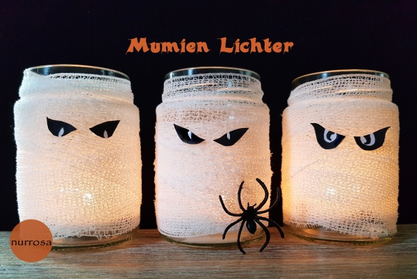 Mumien Teelichter basteln Halloween