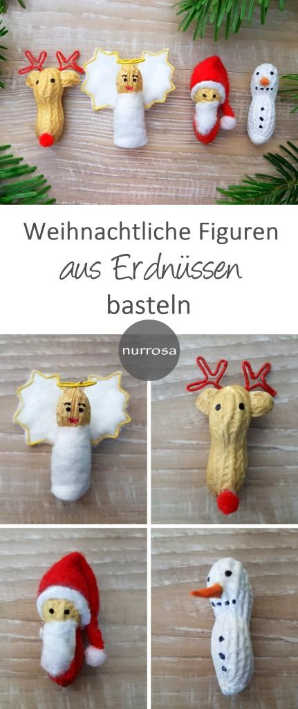 Weihnachtliche Figuren aus Erdnüssen basteln
