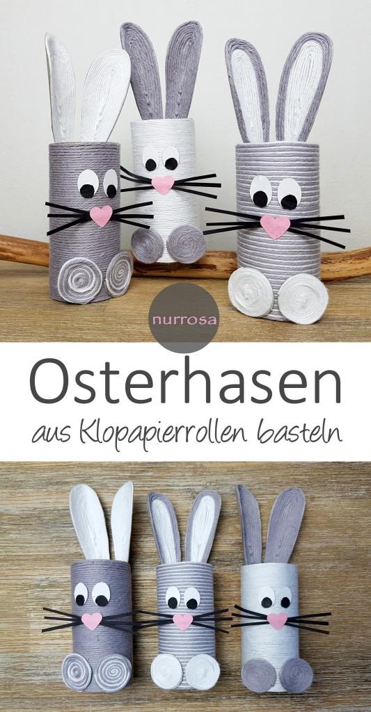 Osterhasen aus Klopapierrollen basteln