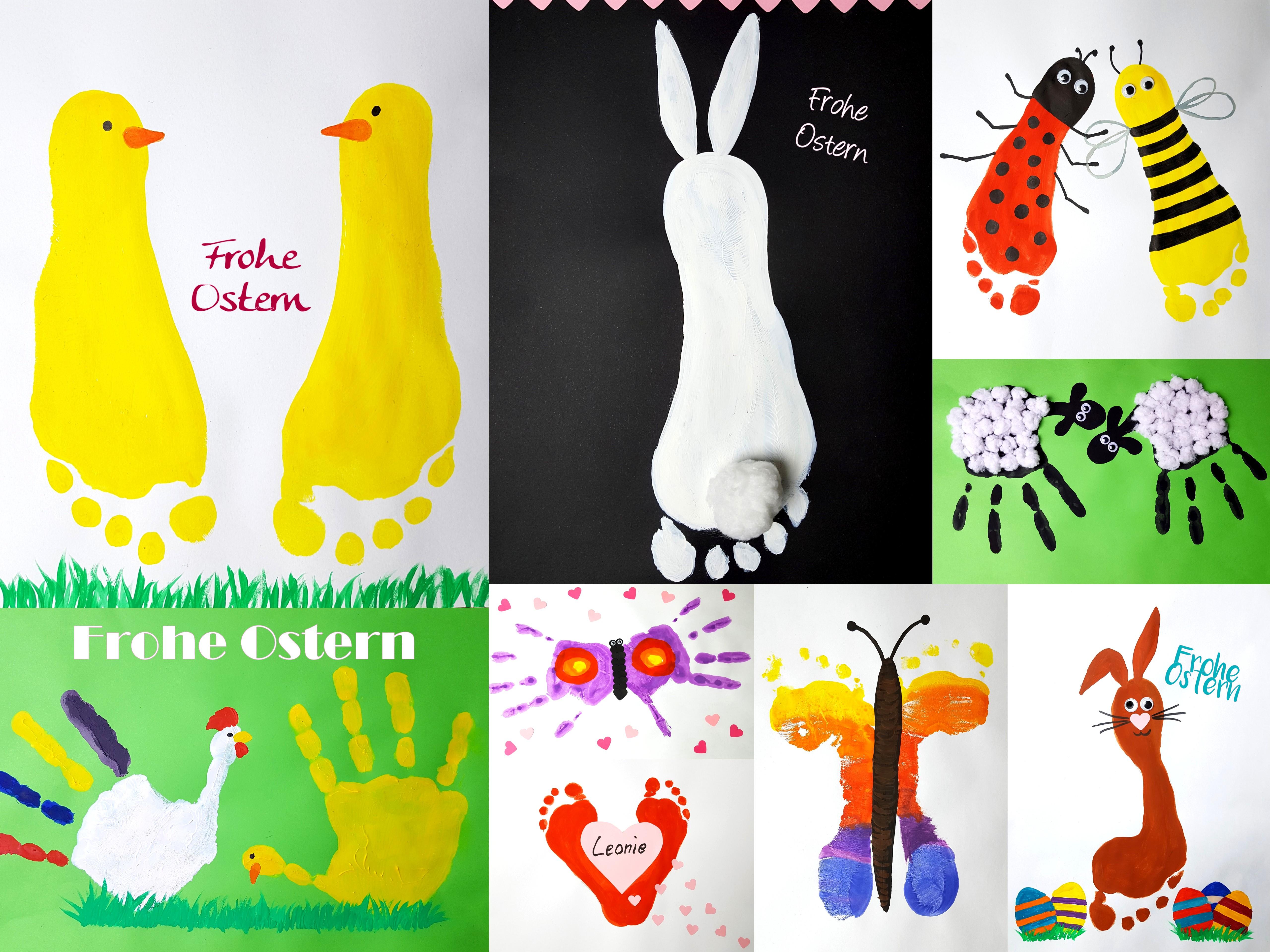 Hand- und Fußabdruck zu Ostern verschenken
