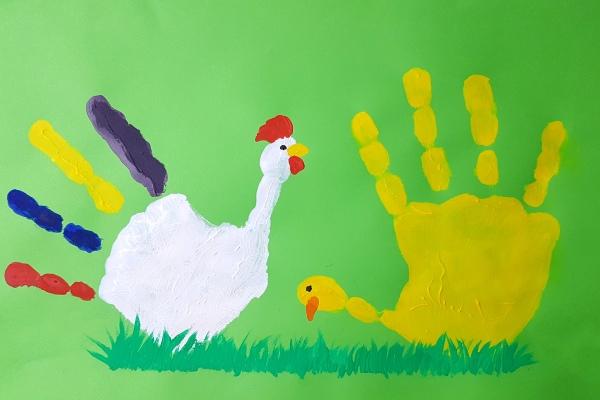 Handabdruck Hahn und Henne