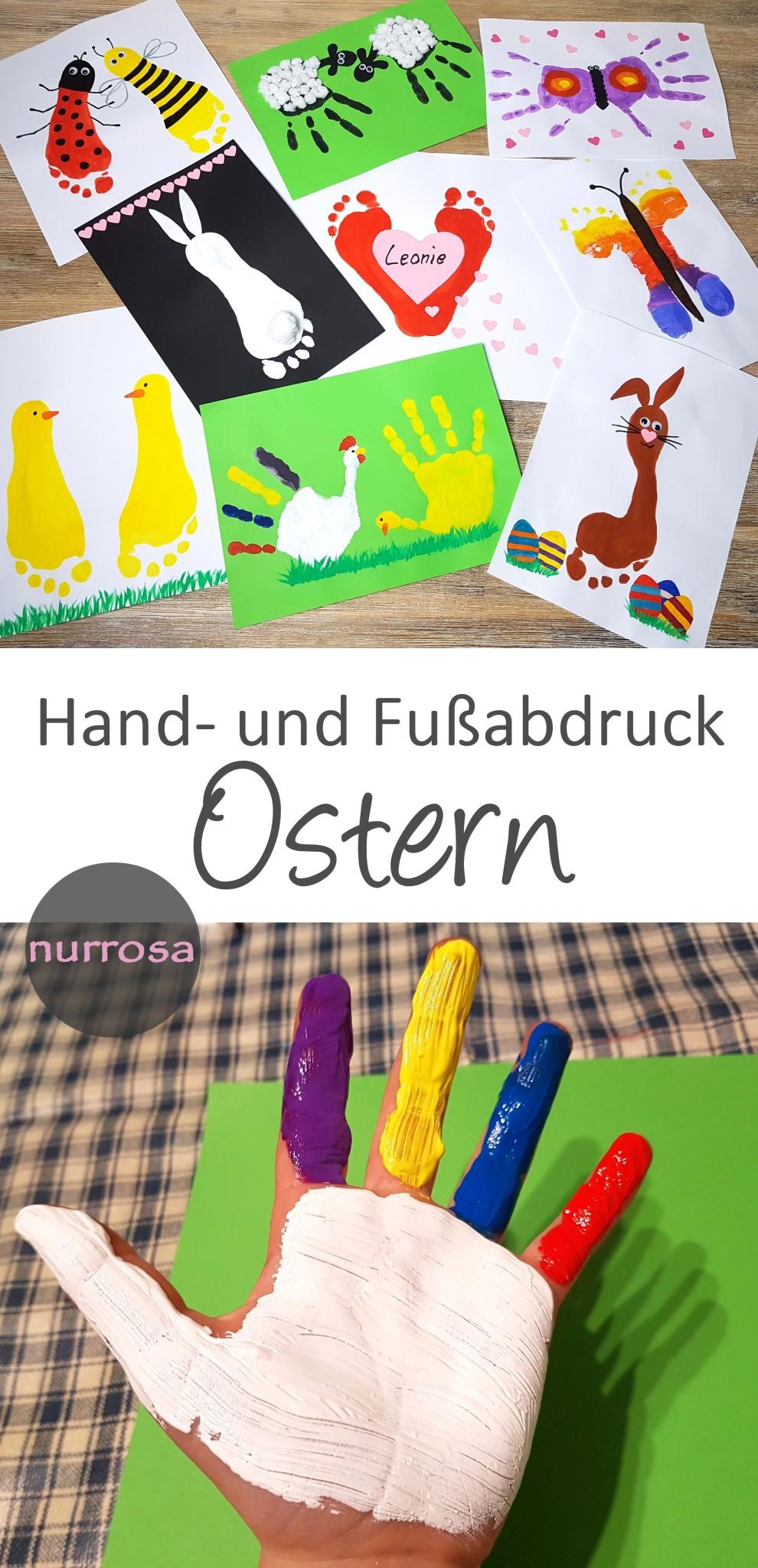 Handabdruck und Fußabdruck zu Ostern