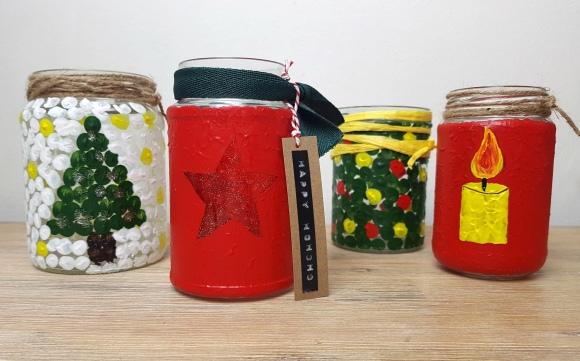 Einfache Windlichter mit Kindern zu Weihnachten basteln