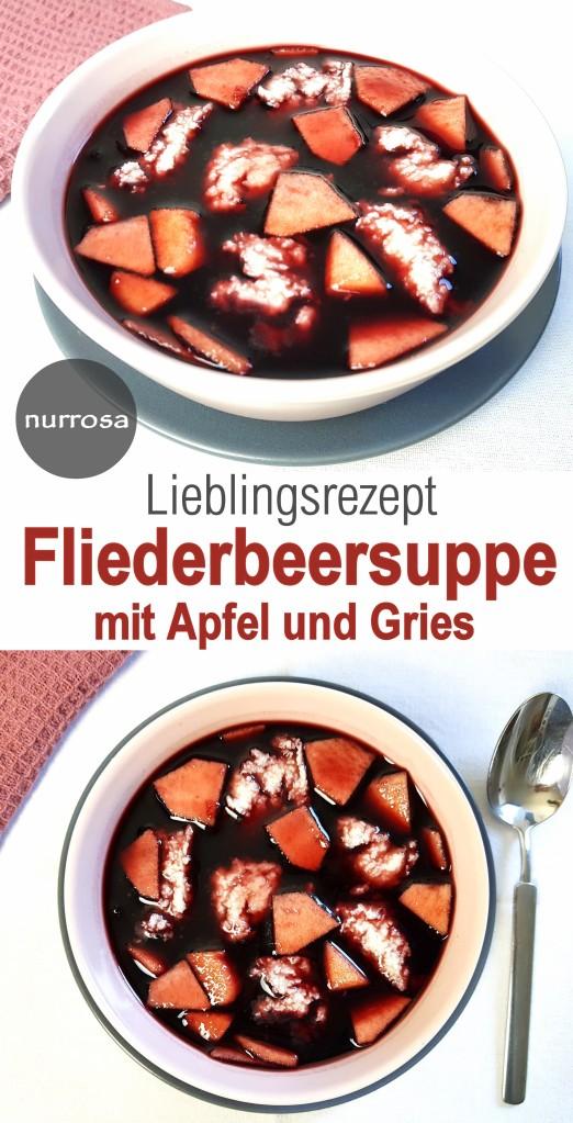 Fliederbeersuppe mit Apfel und Gries