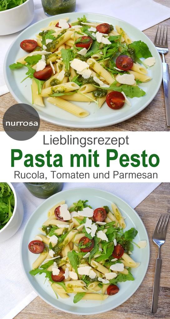 Pasta mit Pesto, Tomaten, Rucola und Parmesan