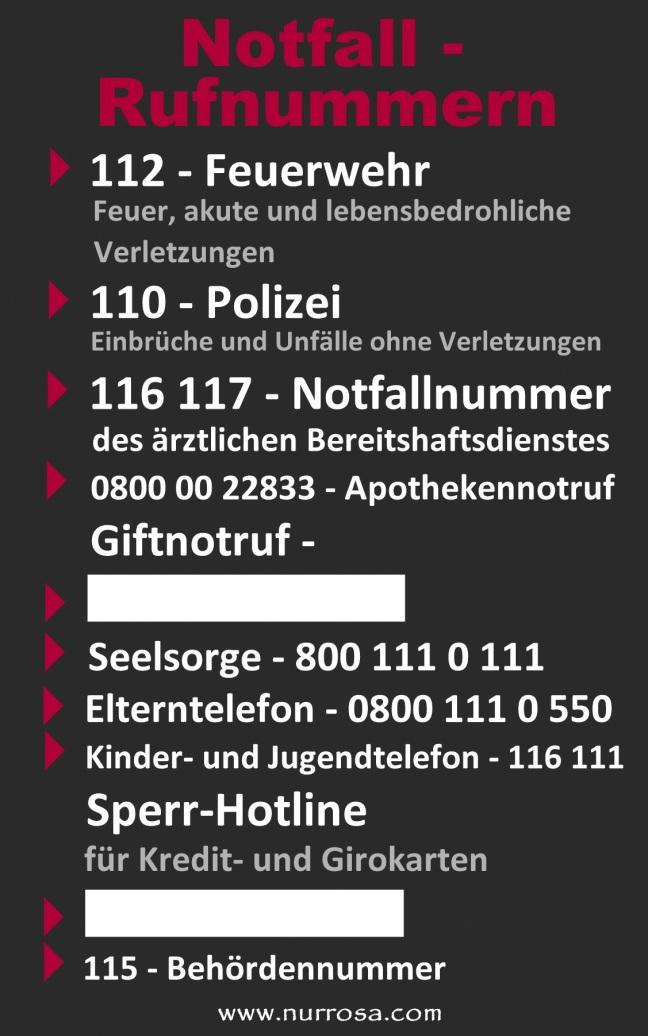Liste Notfallrufnummern
