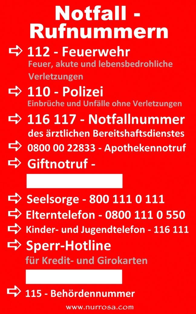 Notfallrufnummern Liste