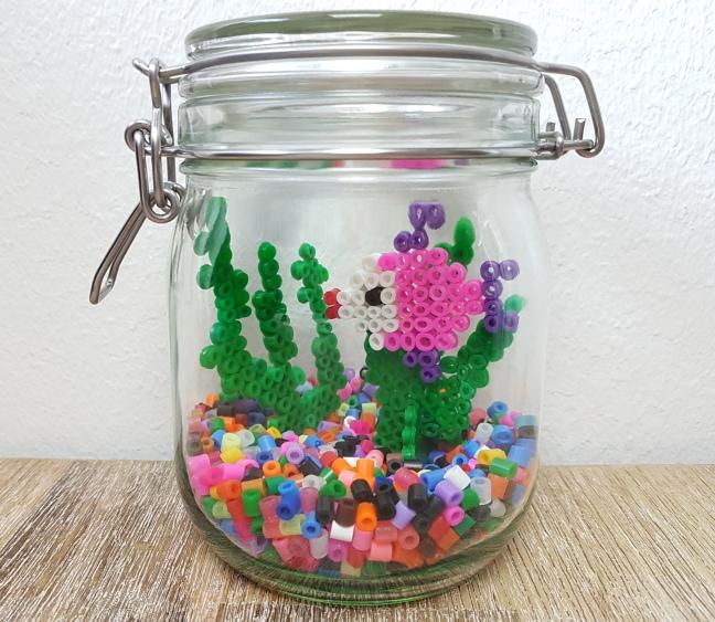 Aquarium aus Bügelperlen basteln DIY