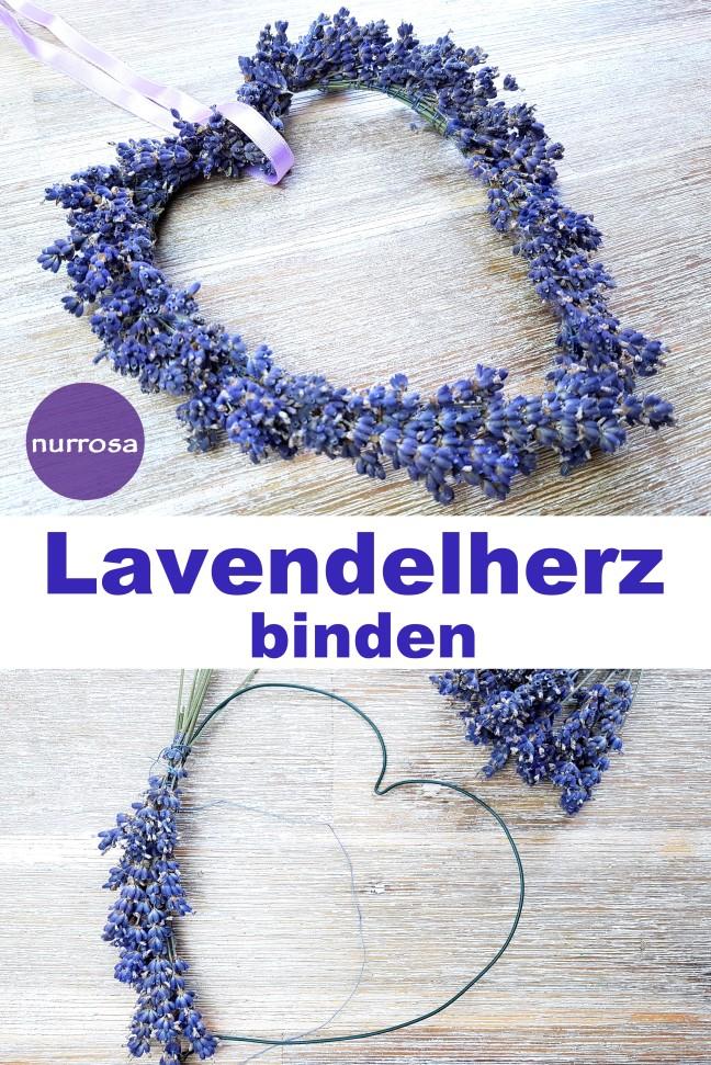 Lavendelherz binden Anleitung